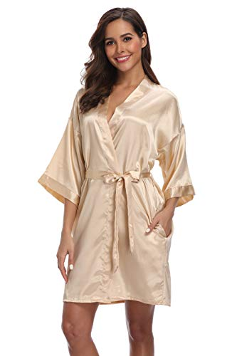 iFigure Women's Short Kimono Robe Dressing Gown Silky Bridesmaid Robes Bathrobe, Champagne Gold, Large