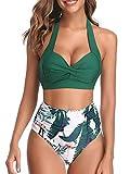 DURINM Costume da Bagno Donna a Vita Alta in Due Pezzi Stampa Floreale Bikini Halter Reggiseno Imbottito Push Up Costume da Bagno