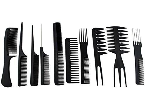 PEINES DE PELUQUERÍA • KIT DE 10 PEINES • herramienta esencial de un peluquero • con estuche muy cómodo para poder transportar todo el juego de peines 2568