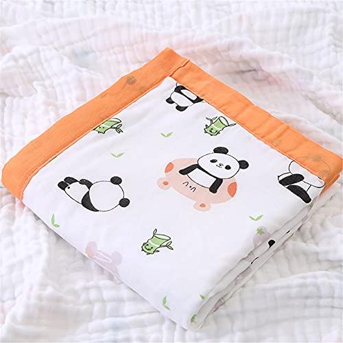 Mantas de muselina para bebé, manta de recepción neutra, grande, para bebé, 100% algodón, transpirable, unisex, impresión de frutas de animales (43.9 x 43.5 pulgadas, panda naranja)