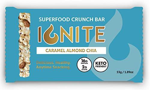 Ignite Superfood Protein Crunch Bars – Caramel Almond Chia Flavor Healthy Snack Bar – 16g Protein – Gluten, Soy & Grain Free – Prebiotic Digestive Support – Keto Friendly