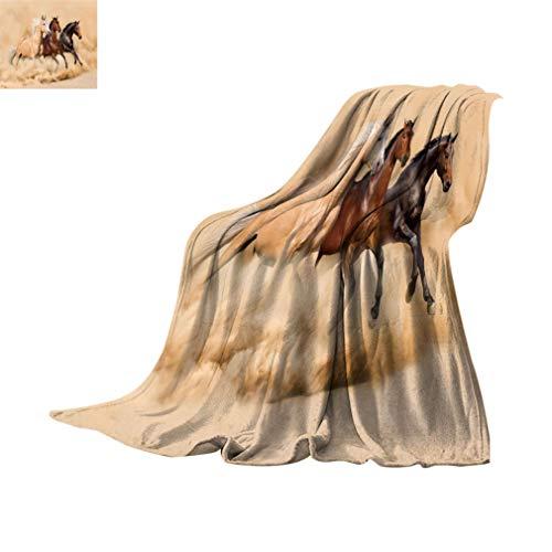 Tier-Dekor-Decke, 3 Pferde laufen in Wüstensturm, mythische Messenger-Tiere im Habitat-Druck, weiche, leichte Decken für Schlafsofa, 152,4 x 99,1 cm, cremebraun