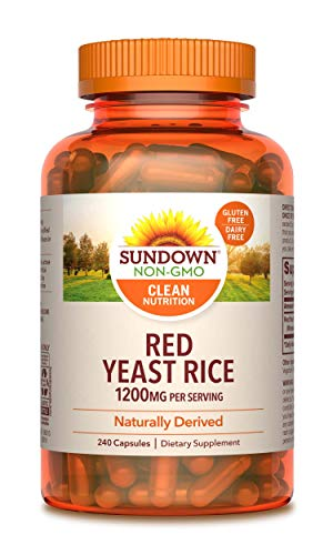 Sundown Red Yeast Rice 1200 mg Capsules (240 Count), Naturally Derived, Gluten Free, Dairy Free, Non-GMOˆ, Free of Gluten, Dairy, Artificial Flavors (Packaging May Vary)