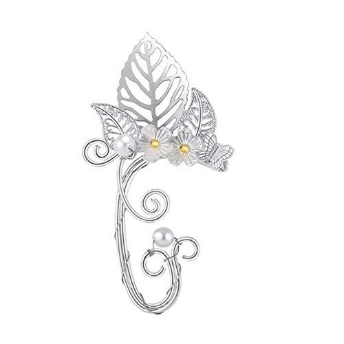 Yosemite 1 pieza de clip para oreja, diseño de flor hueca, diseño de elfo, sin perforación, pendientes pequeños y ligeros para mujer, joyería de fiesta – 1 # oreja izquierda #