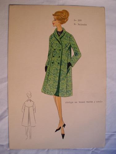 FIGURIN ORIGINAL ACUARELADO - Original watercolor design costume - Diseño P. Balmain...