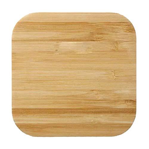 Rendeyuan Nuevo Cargador Inalámbrico de Madera Cargador Inalámbrico Amor Personalizado Cargador de Bambú Cuadrado Forma Regalos Personalizables - Color Madera