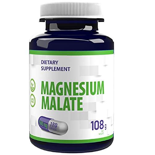 Magnesio Malato 2000mg per dose 180 capsule vegane, Certificato di analisi di AGROLAB Germania, ad alta resistenza, senza riempitivi o altri additivi, senza glutine, senza OGM