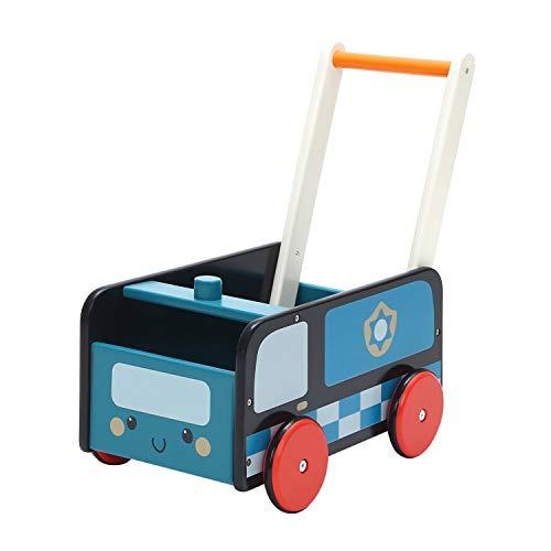 Labebe Lauflernwagen Holz, 2-in-1 Verwendung als Laufwagen, Blaues Polizeiauto Lauflernhilfe für 1-3 Jahre, Gehfrei Lauflernhilfe Baby/Lauflernhilfe Holz/Baby Lauflernwagen Holz/Lauflernwagen Werkzeug