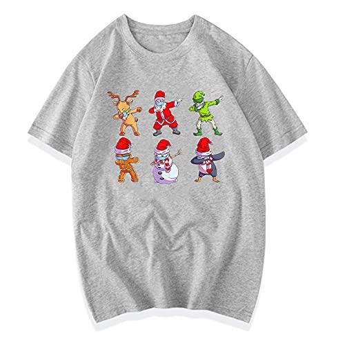 W Weiluogao Dabbing Santa Claus Elk Elf Friends Camiseta Divertida Camiseta de Navidad Dab Camiseta Regalo de Manga Corta para Hombres Mujeres niños (2XL,Gris)