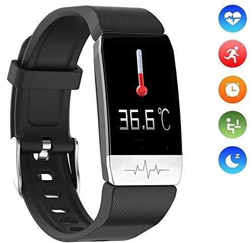 OcaseQ Smartwatch Reloj Inteligente con Termómetro Monitor de Sueño Pulsómetros Podómetro Contador de Caloría Impermeable Pulsera de Actividad Inteligente para Mujer Hombre,Negro
