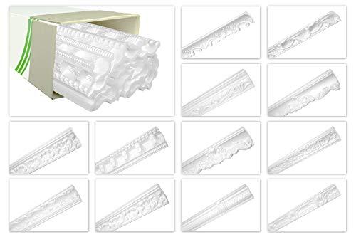 HEXIMO Deckenleisten aus Styropor EPS - Stuckleisten gemustert, im traditionellen Design - (80 Meter Sparpaket ZM12) Stuck Eckleiste Winkelleiste Wand