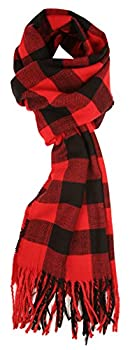Love Lakeside Cashmere Feel Winter Plaid Scarf Buffalo Check Red