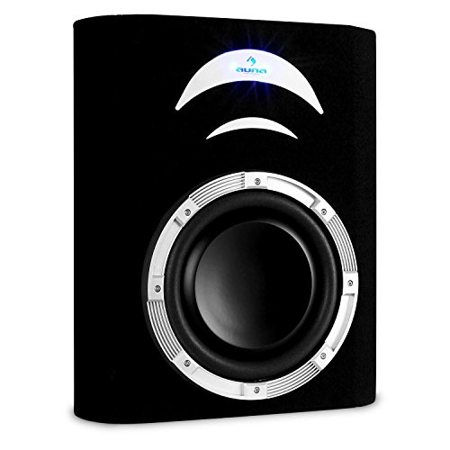 auna CB250-4BX - Auto-Subwoofer, Subwoofer Box, Unterbau-Subwoofer, 500 W max. Leistung, Blauer LED-Lichteffekt, Filz-Beschichtung, Flachbauweise, resonanzarm, schwarz
