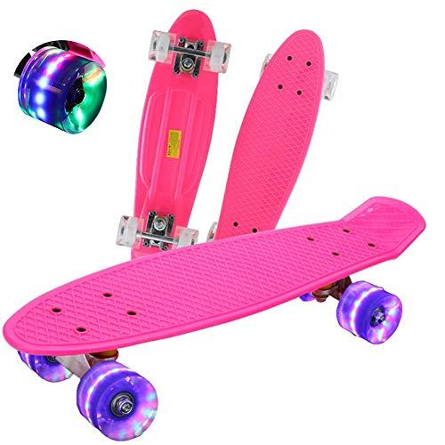 FGKING Skateboards Complete 22 Inch Mini Cruiser Retro Skateboard Skateboard for Kids/Boys/Girls/Youth/Adults, Skateboard for Beginners & Pro, Double Kick Standard Skateboard,Blue