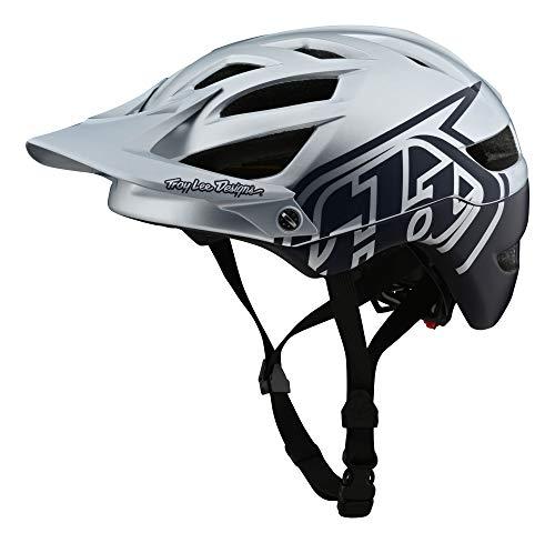 Troy Lee Designs - Casco clásico para Bicicleta de montaña A1 MIPS (MD/LG, Plateado/Azul Marino)