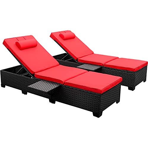 Outdoor PE Wicker Chaise Lounge - 2 Piece Patio Black Rattan Reclining Chair Furniture Set Beach Pool Adjustable Backrest Recliners with Red Cushions