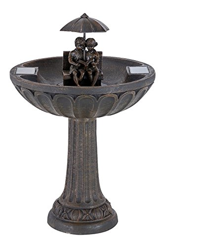 Smart Solar 20326R01 Umbrella Series Solar Fountain, Boy and Girl Reading on a Bench, Aged Bronze Finish, Utilizes Smart Solar Dual Solar Panel Technology