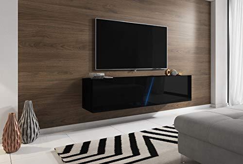 Space TV-Unterteil hängend oder stehend Lowboard inkl. RGB Beleuchtung 160 x 35 cm Hochglanz schwarz/schwarz Dekor