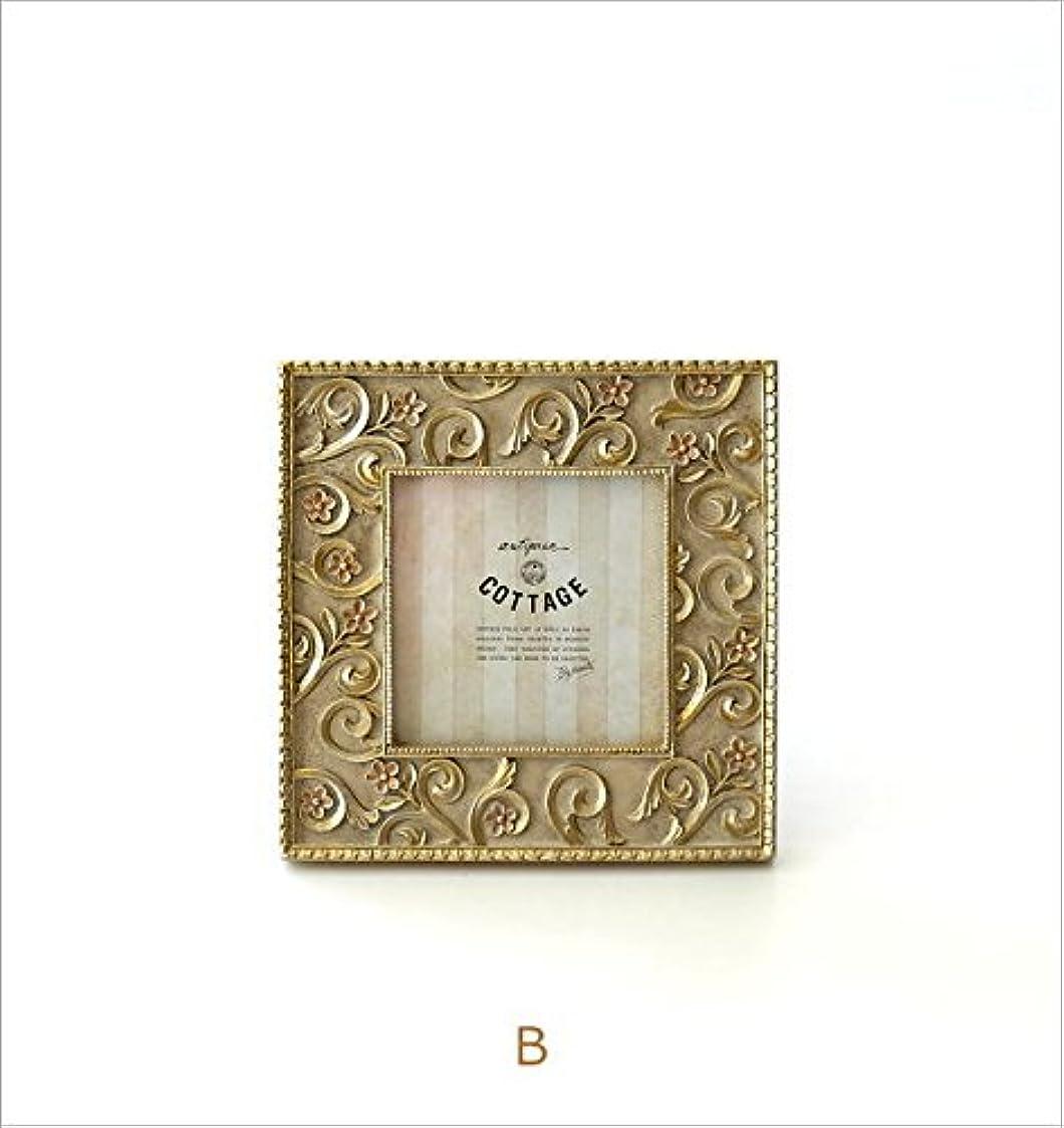 考えた正当化するキャップフォトフレーム アンティーク 正方形 写真立て 壁掛け 卓上 おしゃれ レトロ エレガント クラシック ヨーロピアン フォトフレーム エンボス [kan8448] (B)