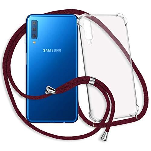 Preisvergleich Produktbild mtb more energy® Handykette kompatibel mit Samsung Galaxy A7 2018 (Duos) SM-A750 (FN / DS,  6.0'') - dunkelrot - Smartphone Hülle zum Umhängen - Anti Shock Strong TPU Case