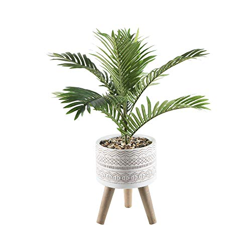 Flora Bunda Artificial Plants 31' Palm in 10' Tribal Fiberglass on Stand