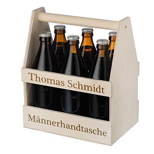polar-effekt Männerhandtasche aus Holz - Wunschgravur - Platz für 6 Flaschen - Ideal für Bierflaschen - Geburtstag, Weihnachten oder Verabschiedung - Geschenkidee für Männer - Motiv Männerhandtasche