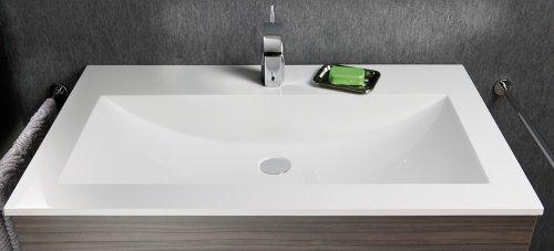 Lanzet P5 Mineralguss-Waschtisch / Weiß / 60 x 1,4 x 45 cm