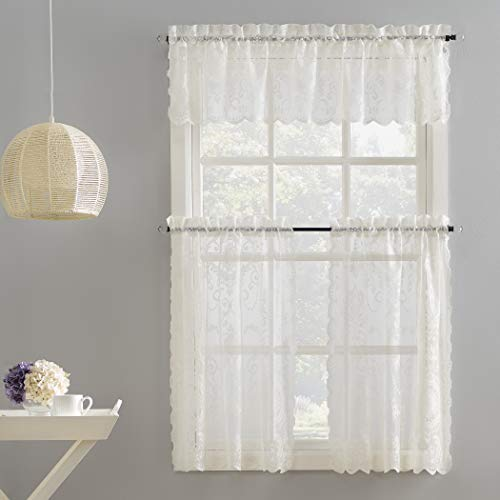 No. 918 Ariella Floral Lace Rod Pocket Kitchen Curtain Valance and Tiers Set, 58' x 36', Ivory