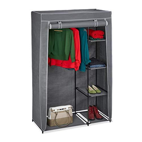 Relaxdays Stoffschrank mit Kleiderstange & 5 Ablagen, Faltschrank mit Reißverschluss, HBT: 161x105,5x45cm, anthrazit