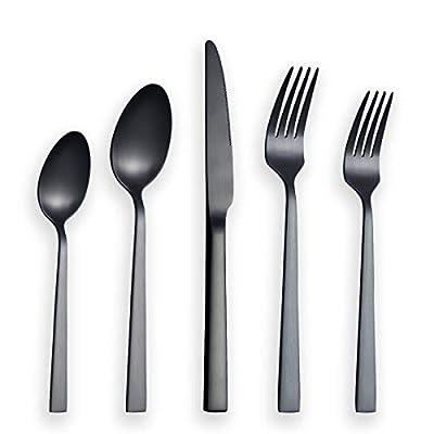 Matte Black Silverware Set, Berglander Satin Black Flatware Set, Stainless Steel With Titianium Plating, Brushed Black Cutlery Set, Service For 4 (Matte Black)
