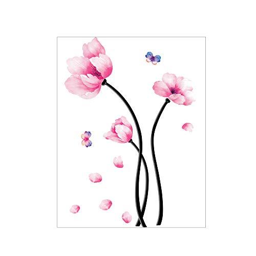 Ogquaton - Adhesivo Decorativo para Pared, diseño de Flores, Color Rosa