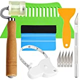 Adhesive Wallpaper Install Tool Kit with Double-sided Tape Measure, Craft Knife with 5 Blades, 3 Types of Scrapers, PU Hand Roller, for Wallpaper Window Film and Car Deadening Mats