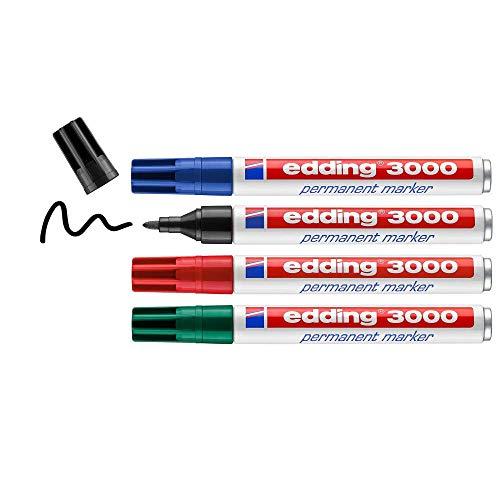edding 3000 Permanentmarker - schwarz, rot, blau, grün - 4 Stifte - Rund-Spitze 1,5-3 mm - schnell trocknend, wasserfest, wischfest - für Karton, Kunststoff, Holz, Metall - Universalmarker