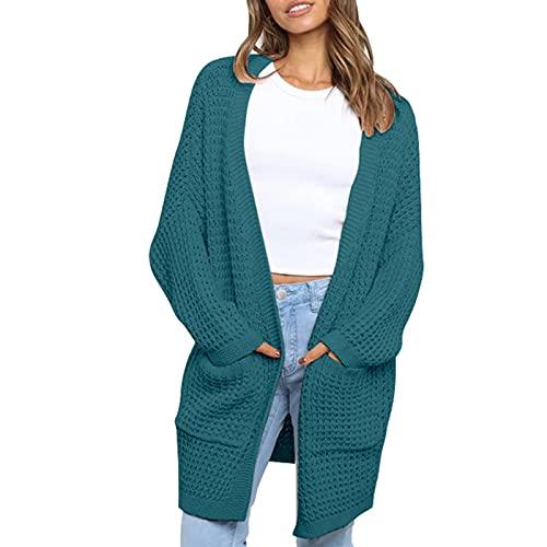 Mujeres 's Casual de manga larga Cardigan suelta punto desgaste moda color sólido abrigo de punto suéter con bolsillo, verde oscuro, M