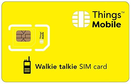 Tarjeta SIM para WALKIE TALKIE - Things Mobile - con cobertura global y red multioperador GSM/2G/3G/4G, sin costes fijos, sin vencimiento y con tarifas competitivas. 10 € de crédito incluido