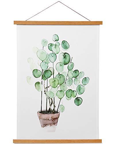 Magnetic Poster Frame Hanger, Natural Teak, Poster Hanger for Photos, Pictures, Prints, Maps, Scrolls and Canvas Artwork