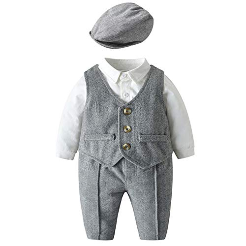 WYTbaby Bebé Niño Traje de Caballero Recién Nacido Vestidos de Bautizo Conjunto de Ropa Polo Body + Pajarita + Chaleco + Pantalones, 0-3 Meses