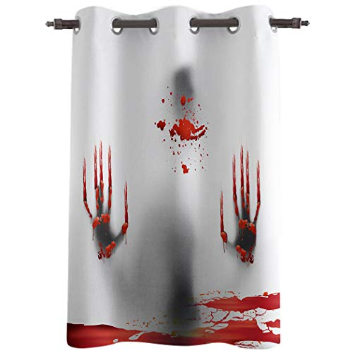 Edwiinsa 52''W x 24''H Window Curtains with Grommet for Kitchen Cafe Bedroom, Halloween Bloody Zombie Silhouette French Door Curtains Panel Decorative Drapes(1 Panel) Red Handprint