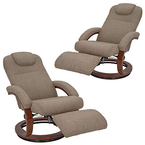 RecPro Charles 28' RV Euro Chair Recliner | Modern Design | RV Furniture | Cloth (Oatmeal, 2 Chairs)