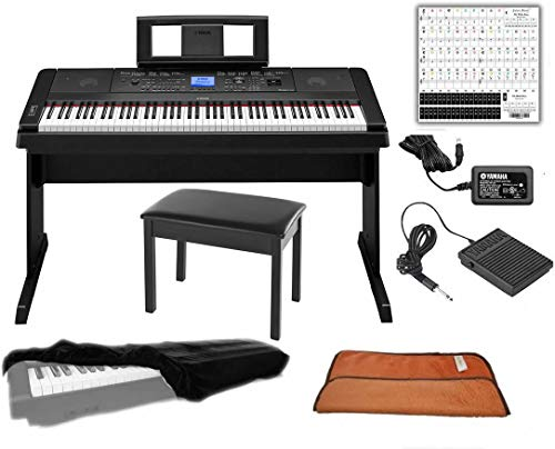 Yamaha DGX660B 88-Key Weighted Digital Piano, Furniture Stand Bundle with Juliet Music Piano Dust Cover, Polish Cloth and Piano Key Sticker