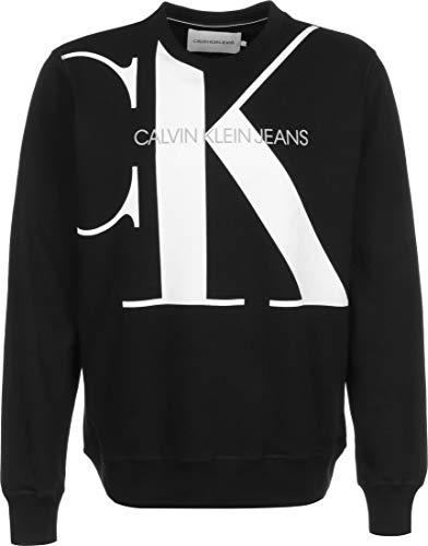 Calvin Klein Upscale Monogram Crew Neck Felpa, Nero (CK Black Bae), X-Large Uomo