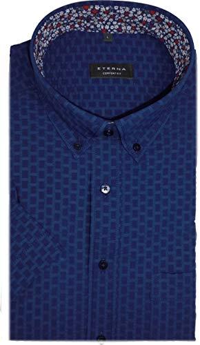 eterna Hemd Comfort Fit/Casual Kurzarm Seersucker blau Muster 3936/18 K244, Kragenweite/Größe:43/44 XL