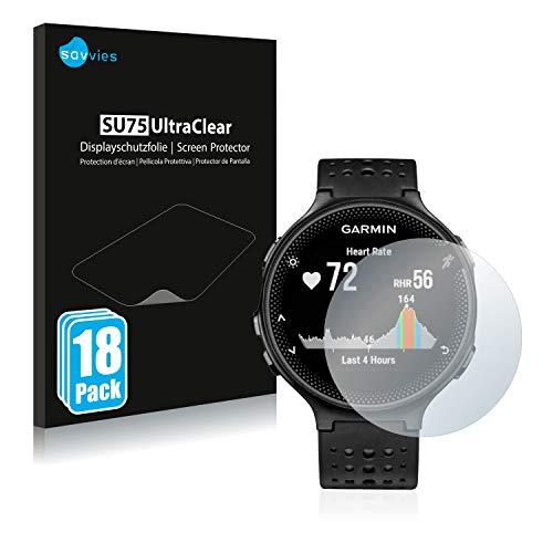 Savvies 18x Schutzfolie kompatibel mit Garmin Forerunner 235 Bildschirmschutz-Folie Ultra-transparent