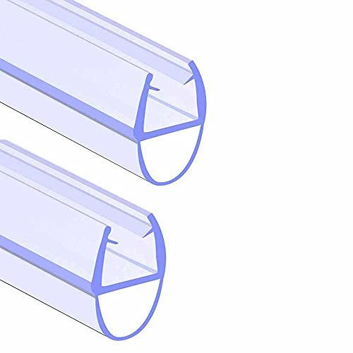 SACHUKOT - Junta de mampara de ducha de baño (2 unidades, 90 cm, para puerta de cristal 4-6 mm, juntas rectas curvadas, distancia de hasta 8 mm)