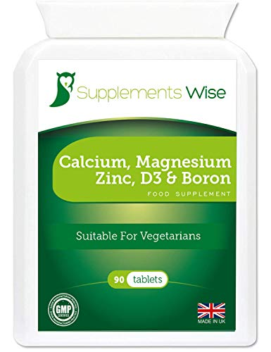 Calcium Magnesium Zinc and Vitamin D Supplement - 90 Vegetarian Tablets - High Strength Osteo Complex Blended with Boron - Effective for Bone and Teeth Health - Supports The Immune System