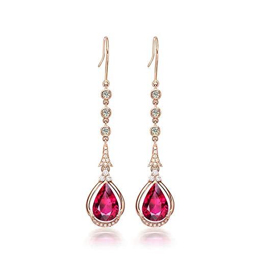 Pendientes de turmalina de rubí borla de gancho de oreja de circón pendientes de oro rosa mujeres mujeres paloma sangre jade gota pendientes finos