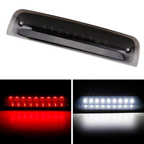Dodge Ram Third Brake Light Stop Lamp Compatible For 2009-2017 Dodge Ram 1500 2010-2017 Dodge Ram 2500 3500 White & Red LED Brake Tail Light Assembly Smoke Lens