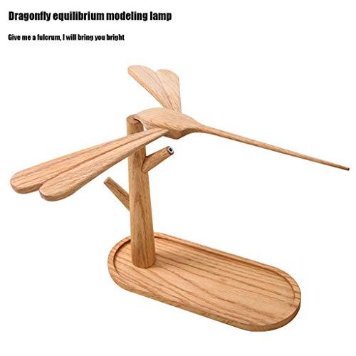 Houten balance libel lamp creatieve tafellamp nachtlampje nachtlampje draadloos opladen decoratief geschenk decoratie
