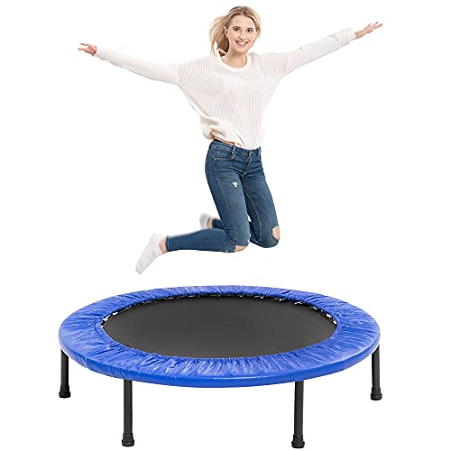 """TURFEE 38"""" Mini Trampoline, 4-Way Folding Exercise Trampolines with Safety Pad, Fitness Rebounder Trampoline for Adults Kids Indoor Outdoor Exercise (Blue)"""