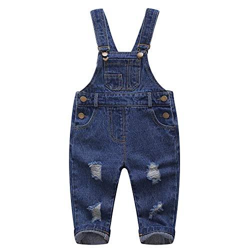 Kidscool Pure Katoen Blauw/Zwart Baby & Peuters Ripped Jeans Overalls